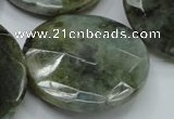 CLB40 15.5 inches 40mm faceted flat round labradorite gemstone beads
