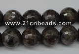 CLB404 15.5 inches 12mm faceted round grey labradorite beads