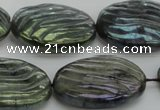 CLB669 15.5 inches 22*30mm carved oval AB-color labradorite beads