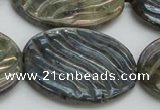 CLB671 15.5 inches 30*40mm carved oval AB-color labradorite beads