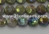 CLB676 15.5 inches 8mm faceted coin AB-color labradorite beads