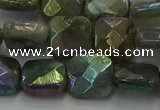CLB687 15.5 inches 12mm faceted square AB-color labradorite beads