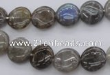 CLB72 15.5 inches 12mm flat round labradorite beads wholesale