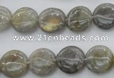 CLB73 15.5 inches 14mm flat round labradorite beads wholesale