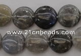 CLB74 15.5 inches 15mm flat round labradorite beads wholesale