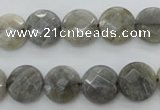 CLB743 15.5 inches 14mm faceted coin labradorite gemstone beads