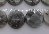 CLB745 15.5 inches 18mm faceted coin labradorite gemstone beads
