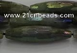 CLB790 15.5 inches 10*40mm faceted rice AB-color labradorite beads