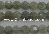 CLB87 15.5 inches 6mm faceted coin labradorite beads wholesale