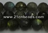 CLB903 15.5 inches 10mm faceted round labradorite gemstone beads