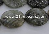 CLB98 15.5 inches 18*24mm carved oval labradorite beads