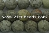 CLD204 15.5 inches 12mm round matte Chinese leopard skin jasper beads