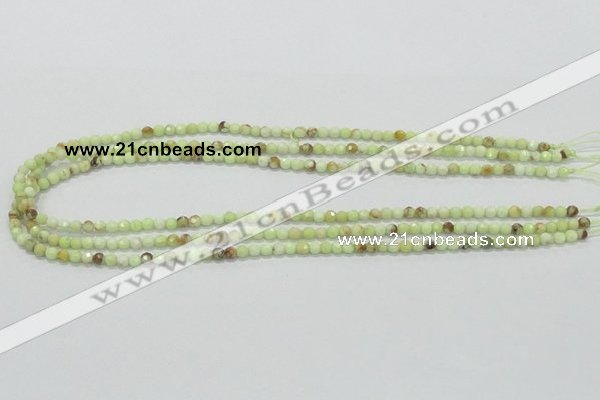 CLE32 15.5 inches 4mm faceted round lemon turquoise beads wholesale