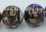 CLG543 16 inches 14mm round goldstone & lampwork glass beads