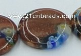 CLG555 16 inches 20mm flat round goldstone & lampwork glass beads