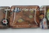 CLG557 16 inches 20*20mm square goldstone & lampwork glass beads