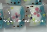 CLG809 15.5 inches 20*20mm square lampwork glass beads wholesale