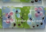 CLG811 15.5 inches 20*20mm square lampwork glass beads wholesale