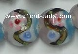 CLG813 15.5 inches 18mm flat round lampwork glass beads wholesale
