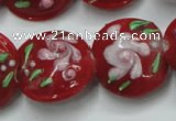 CLG815 15.5 inches 18mm flat round lampwork glass beads wholesale