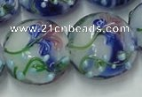 CLG822 15.5 inches 20mm flat round lampwork glass beads wholesale