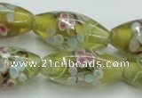 CLG868 15.5 inches 10*20mm rice lampwork glass beads wholesale