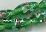 CLG873 15.5 inches 10*20mm rice lampwork glass beads wholesale