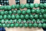 CLJ575 15 inches 10mm faceted round sesame jasper beads