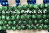 CLJ576 15 inches 10mm faceted round sesame jasper beads