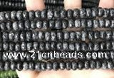 CLJ622 15 inches 5*8mm faceted round sesame jasper beads