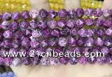 CLJ626 15 inches 8mm faceted nuggets sesame jasper beads