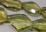 CLQ262 15.5 inches 10*25mm – 25*33mm faceted freeform lemon quartz beads