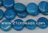 CLR410 15.5 inches 10mm flat round dyed larimar gemstone beads