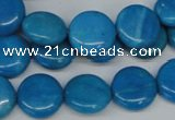 CLR411 15.5 inches 12mm flat round dyed larimar gemstone beads