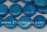 CLR413 15.5 inches 16mm flat round dyed larimar gemstone beads