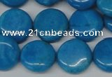 CLR414 15.5 inches 18mm flat round dyed larimar gemstone beads