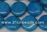 CLR416 15.5 inches 25mm flat round dyed larimar gemstone beads