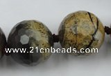 CLS108 15.5 inches 25mm faceted round artistic jasper beads