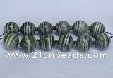 CLS254 7.5 inches 30mm round large green silver line jasper beads
