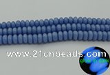 CLU122 15.5 inches 6*10mm rondelle blue luminous stone beads