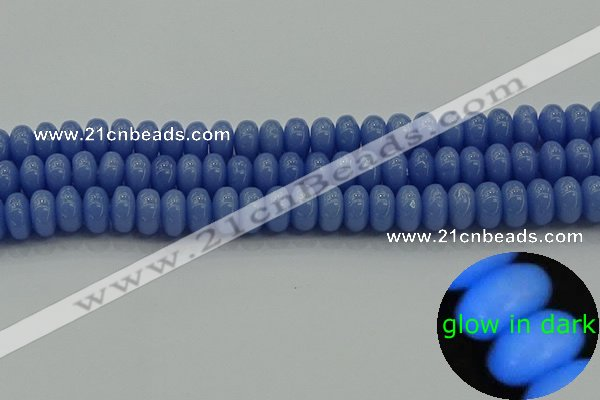 CLU127 15.5 inches 6*10mm rondelle blue luminous stone beads