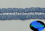 CLU156 15.5 inches 20*20mm square blue luminous stone beads