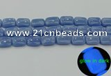 CLU163 15.5 inches 13*18mm rectangle blue luminous stone beads