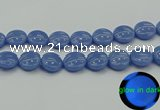 CLU176 15.5 inches 20mm flat round blue luminous stone beads