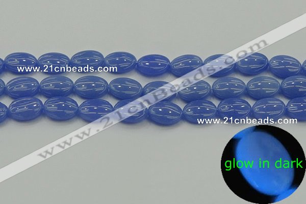 CLU182 15.5 inches 12*16mm oval blue luminous stone beads