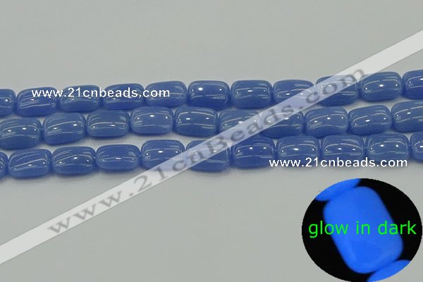 CLU201 15.5 inches 10*14mm rectangle blue luminous stone beads