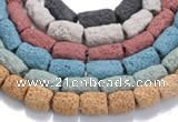 CLV16 14 inches column shape natural lava loose beads wholesale