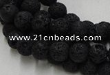CLV212 15.5 inches 8mm round black natural lava beads wholesale