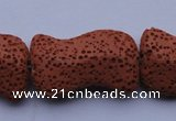 CLV22 15 inches 19*30mm marquise red natural lava beads wholesale