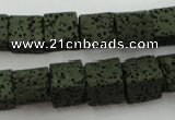 CLV390 15.5 inches 10*10mm cube dyed lava beads wholesale